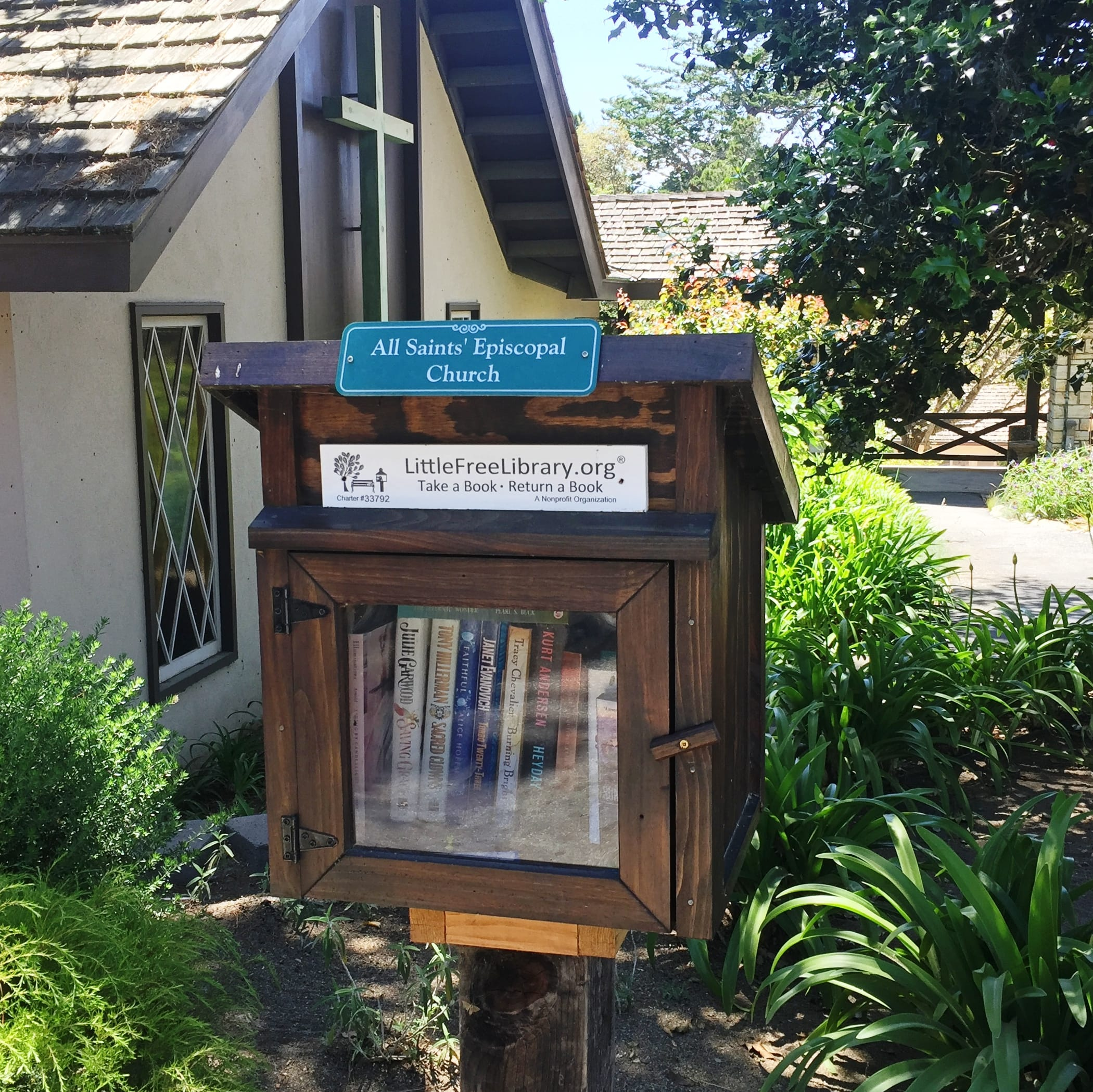 Outdoor library stand at All Saints' church in Carmel. California