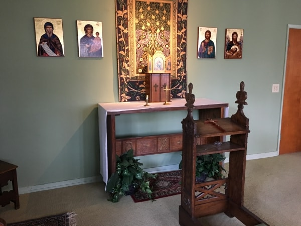 Chapel altar inside All Saints' Episcopal Church in Carmel, CA