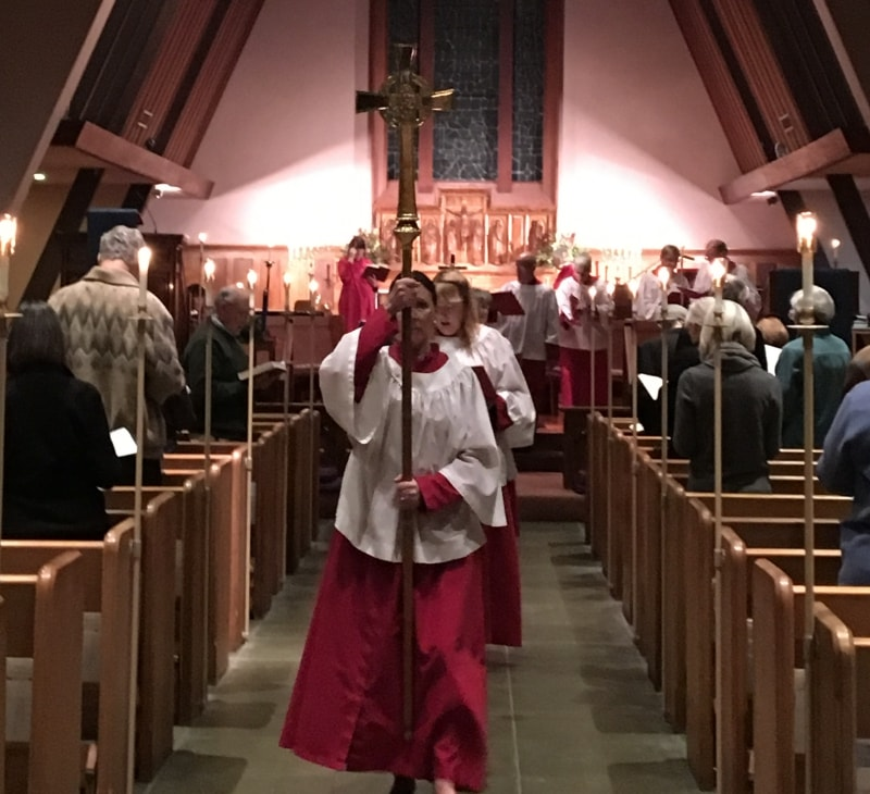 Evensong gathering at All Saints' Episcopal Church in Carmel, California